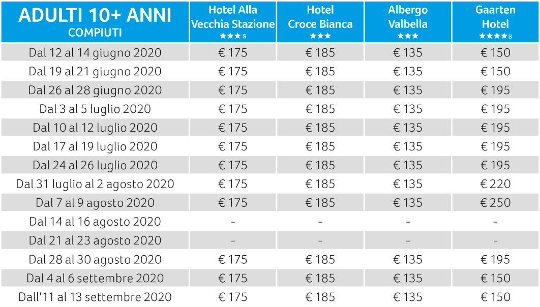 prezzi asiagoestate per il week end 2020 adulti